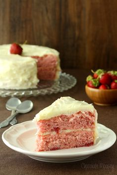 Strawberry Layer Cake with Cream Cheese Frosting by chocolatemoosey #Cake #Strawberry