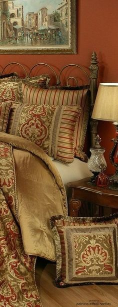 If you are having difficulty making a decision about a home decorating theme, tuscan style is a great home decorating idea. Many homeowners are attracted to the tuscan style because it combines sub… Bed, Home, Luxury Bedding, Mediterranean Home Decor, Tuscan Bedroom, Old World Bedroom, Red Accent Wall, Home Decor, Tuscan Wall Decor