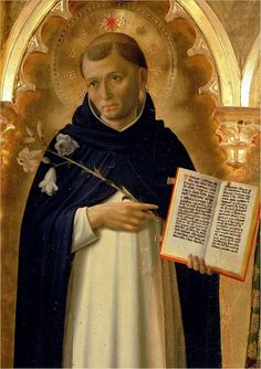 Saint Dominic (1170–1221), portrayed in the Perugia Altarpiece by Fra Angelico. Galleria Nazionale dell'Umbria, Perugia.