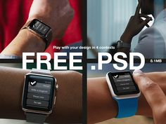 A set of 4 Apple Watch mockups made of smart objects. Free PSD released by Piotr Szwach.