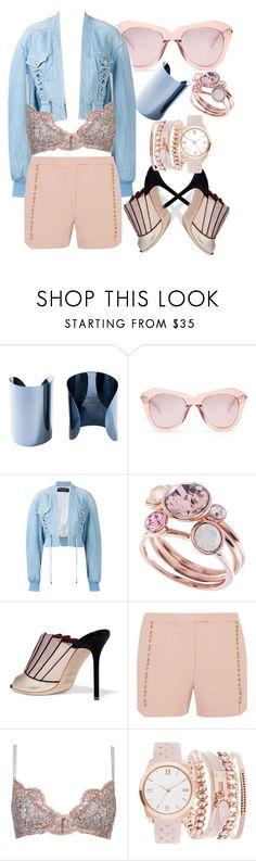 """Rose Gold Your Style"" by stylistinme ❤ liked on Polyvore featuring Maison Margiela, Karen Walker, Balmain, Ted Baker, Malone Souliers, Elie Saab, Agent Provocateur and A.X.N.Y."