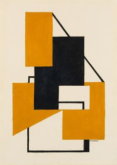 Lajos Kassák - Komposition, 1960, gouache and India ink over preliminary pencil drawing on buff wove paper, 42 x 29.5 cm.