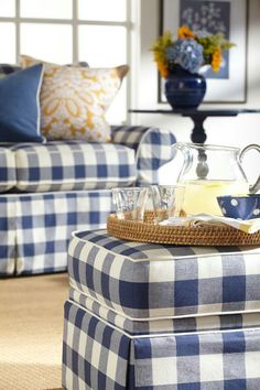 Decorate With Blue and White Buffalo Plaid - decoration,wood,wood working,furniture,decorating Plaid Couch, Sofa Couch, Sectional Sofas, Plaid Chair, Home Theaters, Home Interior, Interior Design, Design Design, Design Room