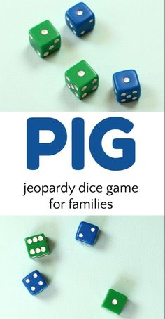 6 variations on how to play the Pig dice game. A fun game that rewards turn taking and uses math skills. Play the pig dice game! 6 different ways to enjoy this simple and fun game of jeopardy that teaches math, probability and rewards turn taking! Family Fun Games, Youth Group Games, Couple Games, Family Game Night, Family Activities, Fun Card Games, Card Games For Kids, Games For Teens, Adult Games