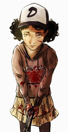 Walking Dead Game Art - Mimicking Robbert Kirkman's art style used in the comic of The Walking Dead, this concept art of Clementine make the player feel concerned and worried for her, with details such as blood on her top helping players feel this. The comic style is abundantly clear and the game incorporated this with a cel-shaded art style. The game is mainly dark, so the drawing looming down on Clementine adds to the dark mood of the game.
