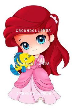Chibi ariel and flounder by crowndolls on deviantart Disney Pixar, Chibi Disney, Disney And Dreamworks, Disney Girls, Disney Cartoons, Disney Love, Disney Characters, Disney Babys, Baby Disney