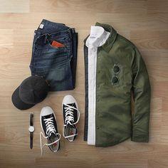 Favorite time of the year #fall Shirt Jacket: @bonobos Olive Nylon Oxford: @corridornyc Shoes: @commedesgarcons PLAY for @converse Hat: @varsityheadwear Denim: RRL @ralphlauren Sunglasses: @oliverpeoples Watch: @uniformwares C40