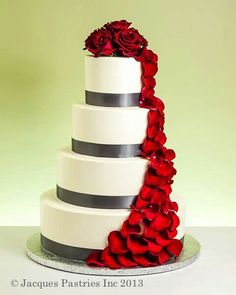 Ivory & Gray Wedding Cake with Red Rose Petal Cascade - I think we found our wedding colors! Red Grey Wedding, Wedding Cake Red, Red And White Weddings, Gray Weddings, Wedding Colors, Ivory Wedding, Sams Club Wedding Cake, Rose Wedding, Red Rose Petals