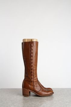 Knee High Boots . Brown Leather Footwear by VeraVague