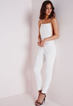 43b49673823 Strappy Back Tailored Jumpsuit White White Jumpsuit Formal