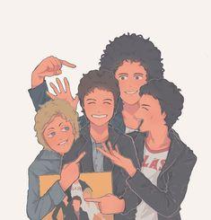 Brian May, John Deacon, Freddie Mercury, Queen Drawing, Roger Taylor Queen, Band Stickers, Beautiful Lyrics, Ben Hardy, Queen Art