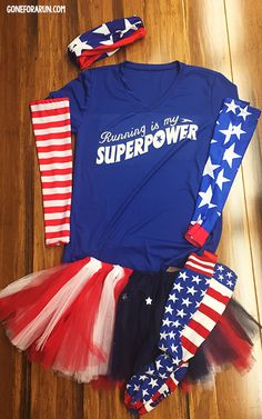 Running is my Superpower -- The perfect running outfit idea for runners taking part in patriotic themed races. Complete your look with a running tee, tutu, RoKBAND, arm sleeves and knee high socks! goneforarun.com