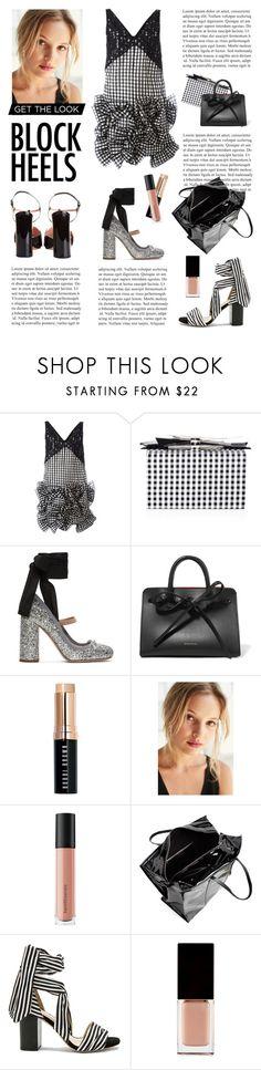 """block heels"" by fabuluz ❤ liked on Polyvore featuring MSGM, Edie Parker, Miu Miu, Mansur Gavriel, Bobbi Brown Cosmetics, MILK MAKEUP, Bare Escentuals, Rochas, Balenciaga and Raye"