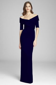 Teri Jon :: Stretch Satin Twist Front Gown with Sleeves Bridesmaid Dresses With Sleeves, Mob Dresses, Gowns With Sleeves, Wedding Dress Sleeves, Satin Dresses, Short Sleeves, Mother Of The Bride Fashion, Mother Of The Bride Dresses Long, Ball Gowns Evening
