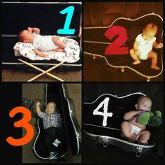 Foto mensual, es bueno tomarle una foto mensual a tu bebé si es posible en él mismo lugar, o con el mismo objeto, o con una ropita parecida, en mi caso se la tomo en él case de la guitarra de su papá.