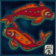 Ceramic Hand Painted Tile Koi Fish Original art by Pacific Blue Tile