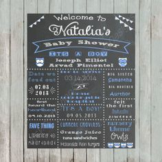 Boy Baby Owl Chalkboard Baby Shower Sign Printable