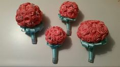Bouquet 's one for the bride, one to throw & two for the bridesmaid!!  All made from ribbon.