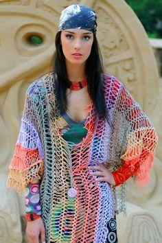 Crochet Horquilla Tunica Arco Iris - Patrones Crochet