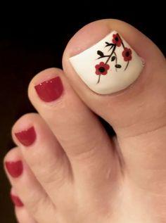 nails - 40 toe nail art designs to keep up with trends 040 ~ producttall com Toe Nail Color, Toe Nail Art, Nail Colors, Nail Art Flowers Designs, Toe Nail Designs, Nails Design, Flower Toenail Designs, Cute Toenail Designs, Pretty Toe Nails