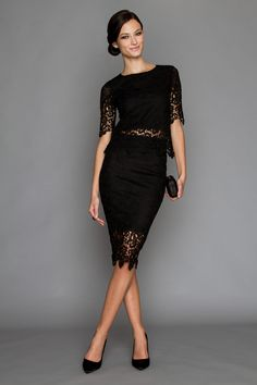 Lace Crop Top - Style exquisite lace with a trendy high-waisted skirt or dressy trousers. Lace Crop Tops, Dress Me Up, Gothic, Abs, Cocktail, Pencil, Skirts, Black, Dresses