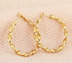 18K Gold Plated Copper Earrings Fashion Twist Hoop Earrings Gift for Women