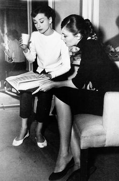 Audrey Hepburn photographed with actress Madelon Hubbard, 1956.