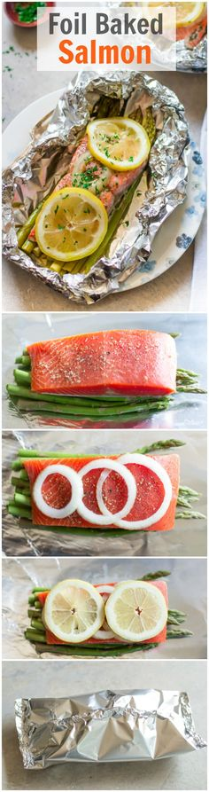 Foil Baked Salmon - You infuse your salmon with lemon, onion, dried oregano and . - Foil Baked Salmon – You infuse your salmon with lemon, onion, dried oregano and asparagus for a r - Baked Salmon Recipes, Fish Recipes, Seafood Recipes, Paleo Recipes, Low Carb Recipes, Cooking Recipes, Salmon Meals, Recipies, Salmon Dishes