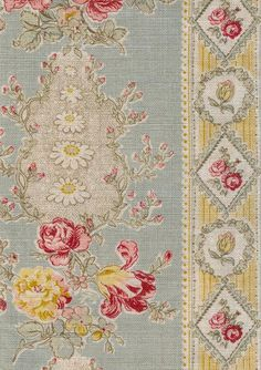 Christobel Linen Fabric Cream linen with printed floral stripe in duck egg yellow and pink