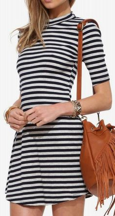 Lush Striped Ribbed Dress in Navy