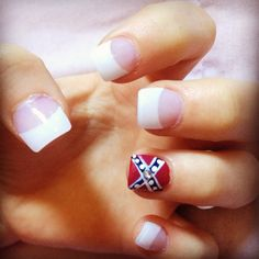 French tips with accent nail nails pinterest accent nails rebel flag nails with a diamond in the middle of the flag prinsesfo Gallery