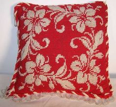 Victorian Beaded Needlepoint Pincushion Pillow Front view.