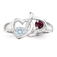 Sterling Silver Personalized 2 Stone Heart Ring