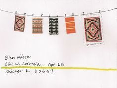 pushing the envelopes: quilt stamps on a clothesline. mail art.
