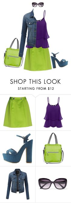 """""""Electric Green ensemble"""" by brooklynbeatz ❤ liked on Polyvore featuring Moschino Cheap & Chic, Bamboo, Travelon, LE3NO and Roberto Cavalli"""