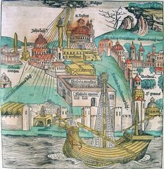 Constantinople - Golden Horn in the Nuremberg Chronicle. This is the map I'm trying to follow, my next stop is the big mosque.