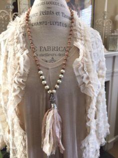 Shabby chic Bohemian glam pink gemstone sari silk tassel unique jewelry boho style hand knot necklace by MarleeLivesRoxy by MarleeLovesRoxy on Etsy https://www.etsy.com/listing/227470957/shabby-chic-bohemian-glam-pink-gemstone