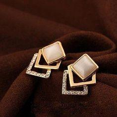 #RoseGal.com - #RoseGal Fake Opal Embellished Square Earrings - AdoreWe.com