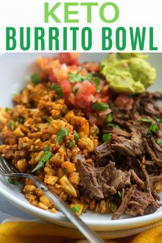 This KETO BURRITO BOWL is one of my favorite Mexican meals! We make this often and its always a hit. Its easy to customize so that everyone in your family can make their burrito bowl they way they like and the leftovers are perfect the next day for lunch! Lunch Recipes, Mexican Food Recipes, Beef Recipes, Dinner Recipes, Healthy Recipes, Mexican Meals, Mexican Desserts, Freezer Recipes, Budget Recipes
