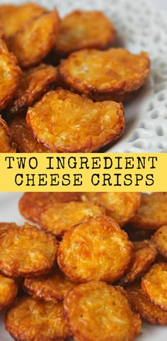 Two Ingredient Cheese Crisps - Cheese Chips - Ideas of Cheese Chips - Cheese Recipes, Paleo Recipes, Appetizer Recipes, Low Carb Recipes, Cooking Recipes, Cheese Snacks, Cheese Dishes, Muffin Recipes, Easy Recipes