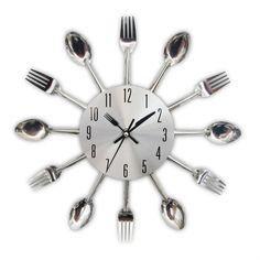 Timelike Kitchen Wall Clock, Removable Modern Creative Cutlery Kitchen Spoon Fork Wall Clock Mirror Wall Decal Wall Sticker Room Home Decoration (Sliver)
