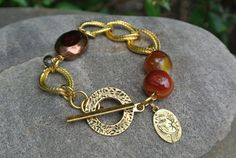 Handmade Gold Chain Link Bracelet with Carnelian Cherry Beads