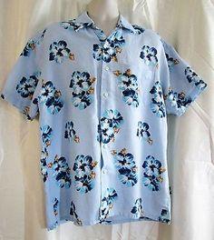 Nautica-Hawaiian-Mens-Shirt-Lg-Blue-Hibiscus-Linen-Blend