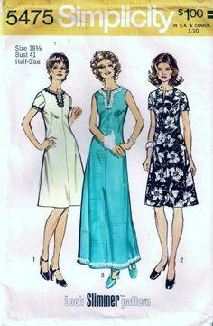 Vintage 70s Look Slimmer Dress Sewing Pattern 5475 B41 18 1/2