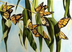 Monarch Dance is an ORIGINAL Silk Painting by Tina Gleave. The silk is acrylic mounted to canvas. The Monarch migration is such a beautiful