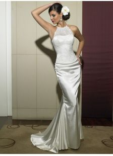 Sexy White Mermaid/Trumpet Satin Garden/Outdoor Wedding Dress With Appliques And Sleeveless (MW53B4)