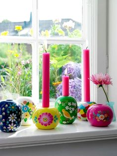 hand-painted candle holders