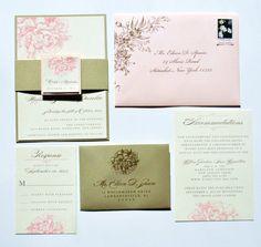 Peony Wedding Invitations Pink Peony Invitations by WhimsyBDesigns