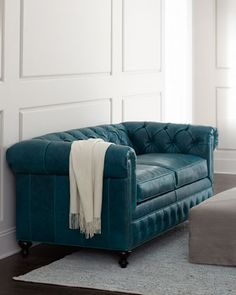 """Ohh myyy turquoise. .. """"Arianna"""" Leather Sofa by Old Hickory Tannery at Horchow."""