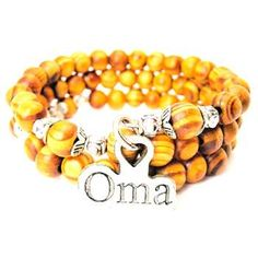 NATURAL WOOD WRAP BANGLE OMA GRANDMOTHER IN GERMAN BRACELET - See more at: http://www.chubbychicocharms.com #Grandmother #German #Charms #AmericanMade
